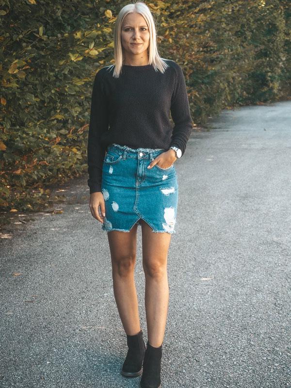 Jeansrock kombinieren für kalte Herbsttage