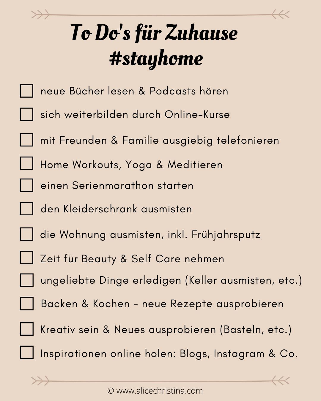 To Do's für Zuhause - stayhome Ideen und Inspirationen in Zeiten von Coronavirus